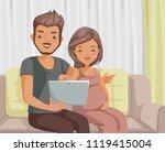 pregnant couple reading on... | Shutterstock .eps vector #1119415004