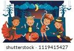 halloween funny. happy children ... | Shutterstock .eps vector #1119415427