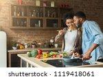 loving african american couple... | Shutterstock . vector #1119418061