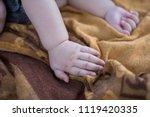body part of baby when sleep.... | Shutterstock . vector #1119420335