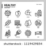 healthy icon set | Shutterstock .eps vector #1119429854
