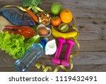 ketogenic diet food frame... | Shutterstock . vector #1119432491