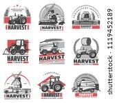vintage harvesting emblems set... | Shutterstock .eps vector #1119452189