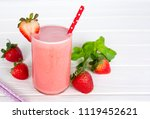 strawberry smoothies yogurt ... | Shutterstock . vector #1119452621