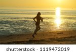silhouette of girl running by...   Shutterstock . vector #1119472019