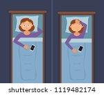 sleepless woman face cartoon...   Shutterstock . vector #1119482174