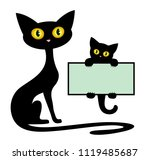 frame with black kitten and cat. | Shutterstock . vector #1119485687