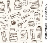 sport nutrition hand drawn... | Shutterstock .eps vector #1119555077