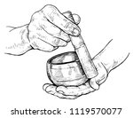 tibetan singing bowl in the... | Shutterstock .eps vector #1119570077