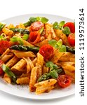 pasta with tomato sauce and... | Shutterstock . vector #1119573614