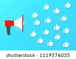 megaphone red color and likes... | Shutterstock .eps vector #1119576035