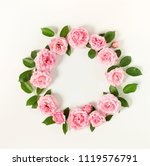 floral frame wreath of pale... | Shutterstock . vector #1119576791
