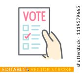 hand hold a vote list. editable ...   Shutterstock .eps vector #1119579665