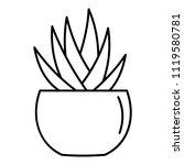 round pot aloe icon. outline... | Shutterstock .eps vector #1119580781
