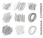 set of vector drawn tangles ... | Shutterstock .eps vector #1119589829