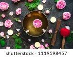 tibetan singing bowl with... | Shutterstock . vector #1119598457