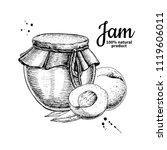 peach jam glass jar vector... | Shutterstock .eps vector #1119606011