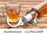 bottle and glass with alcohol... | Shutterstock . vector #1119611009