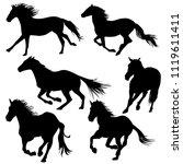 silhouette of horses galloping... | Shutterstock .eps vector #1119611411