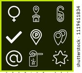 set of 9 signs outline icons...   Shutterstock .eps vector #1119611834