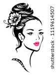young beautiful girl with... | Shutterstock .eps vector #1119614507