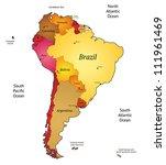 map of latin america. vector... | Shutterstock .eps vector #111961469