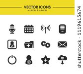 interface icons set with router ...