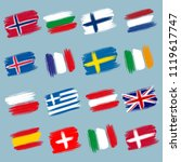 brushstroke european flags ... | Shutterstock .eps vector #1119617747