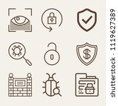 set of 9 security outline icons ... | Shutterstock .eps vector #1119627389