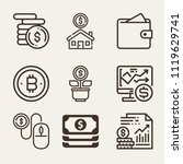 set of 9 money outline icons... | Shutterstock .eps vector #1119629741
