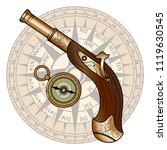 vector old pistol and compass | Shutterstock .eps vector #1119630545