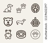 set of 9 animals outline icons... | Shutterstock .eps vector #1119632297