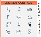 cafe icons set with cutlery ... | Shutterstock . vector #1119635897