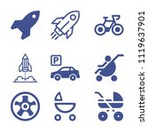 set of 9 transport filled icons ... | Shutterstock .eps vector #1119637901