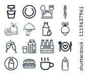 set of 16 food outline icons... | Shutterstock .eps vector #1119637961