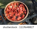 fried sausage cooking in the... | Shutterstock . vector #1119648827