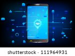 illustration of social networking through smart phone - stock vector