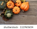 Autumn Pumpkins With Leaves  On ...