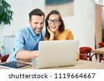portrait of cheerful couple... | Shutterstock . vector #1119664667