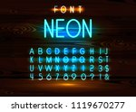 vintage neon font and alphabet... | Shutterstock .eps vector #1119670277