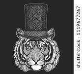 tiger. top hat  cylinder.... | Shutterstock .eps vector #1119677267