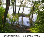 a small island with trees on... | Shutterstock . vector #1119677957