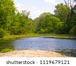 beautiful spring forest lake | Shutterstock . vector #1119679121