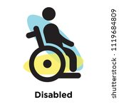 disabled icon vector isolated... | Shutterstock .eps vector #1119684809