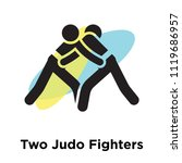 two judo fighters icon vector...