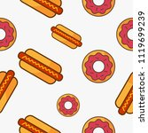 donut and hotdog fast food... | Shutterstock .eps vector #1119699239