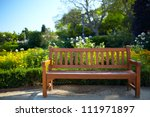 Bench In The Park In Barcelona. ...
