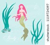 cute little mermaid. vector. | Shutterstock .eps vector #1119724397