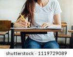 front view hand high school or... | Shutterstock . vector #1119729089