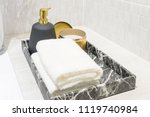 white spa towels on washbasin... | Shutterstock . vector #1119740984